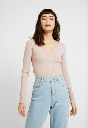 COZY HENLEY - Long sleeved top - light pink/shadow grey