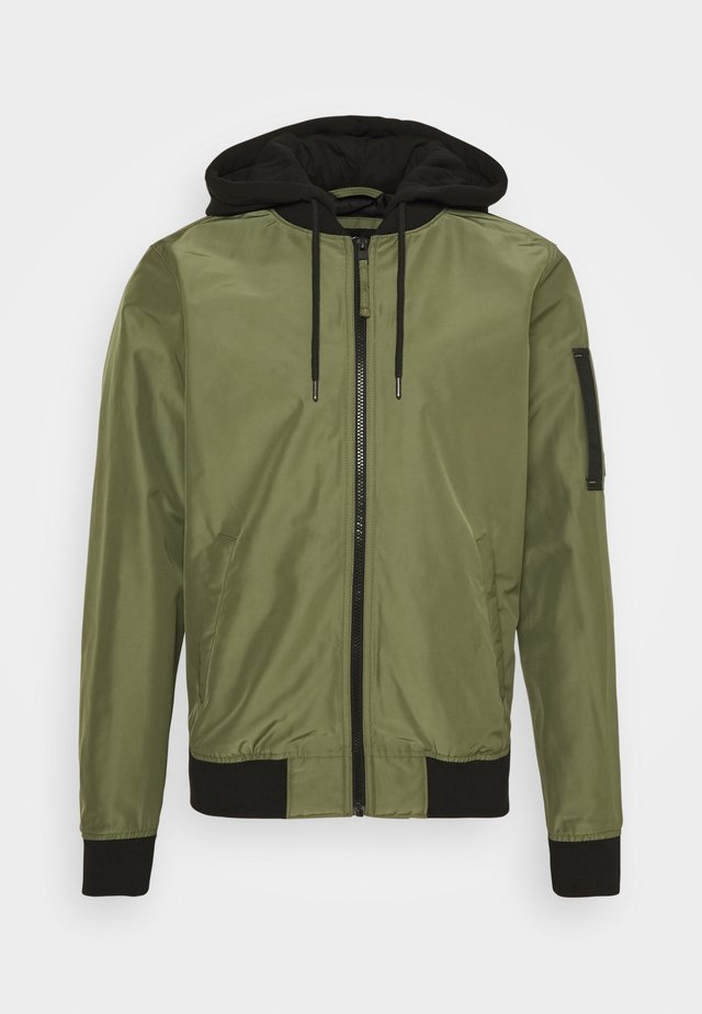HOODED - Chaquetas bomber - olive