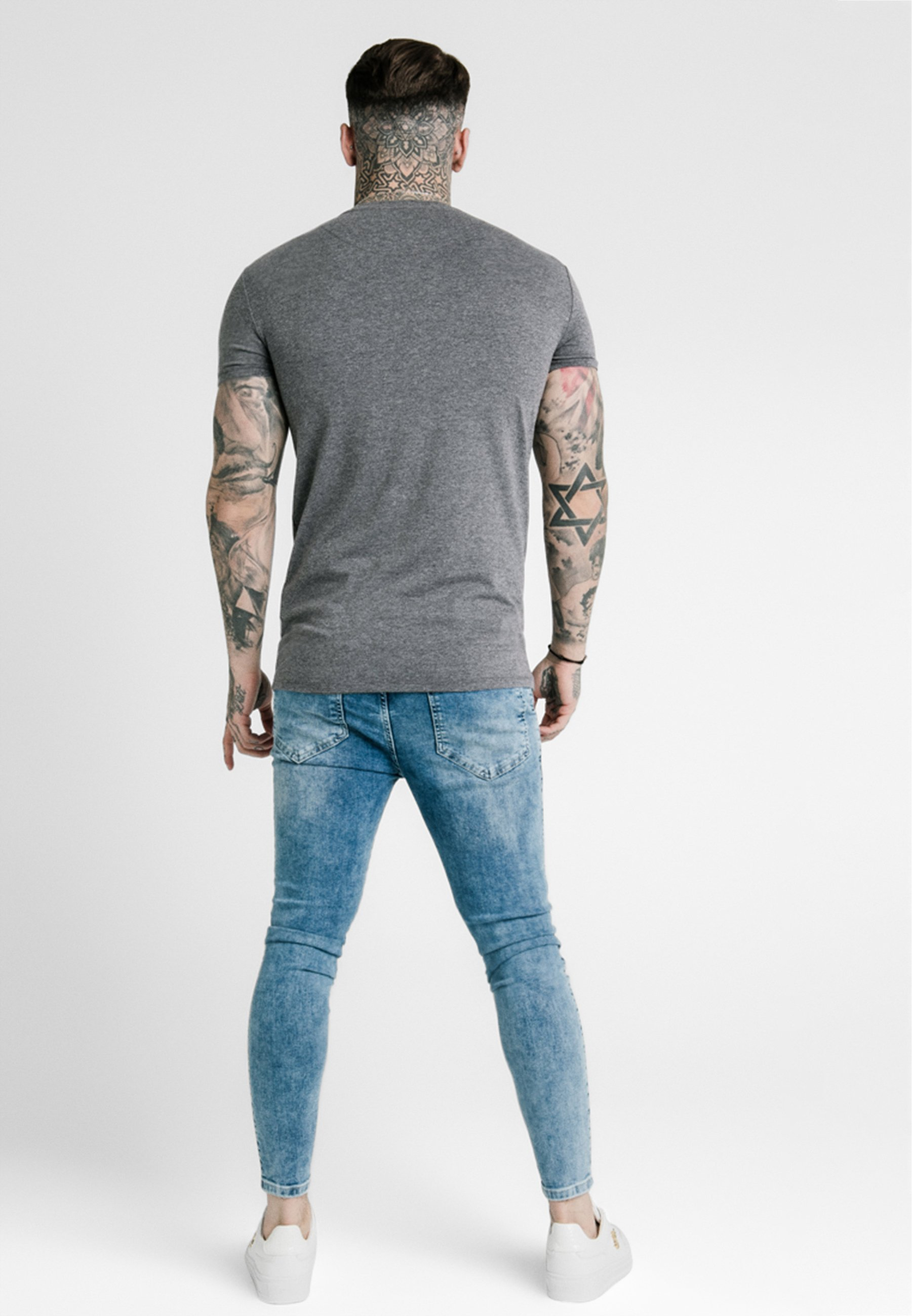 Siksilk Straight Gym Tee - T-shirts Grey/grå-melert