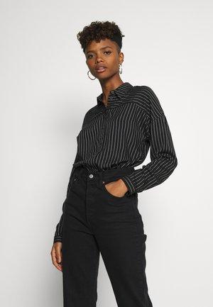 Button-down blouse - black/cloud dancer stripe