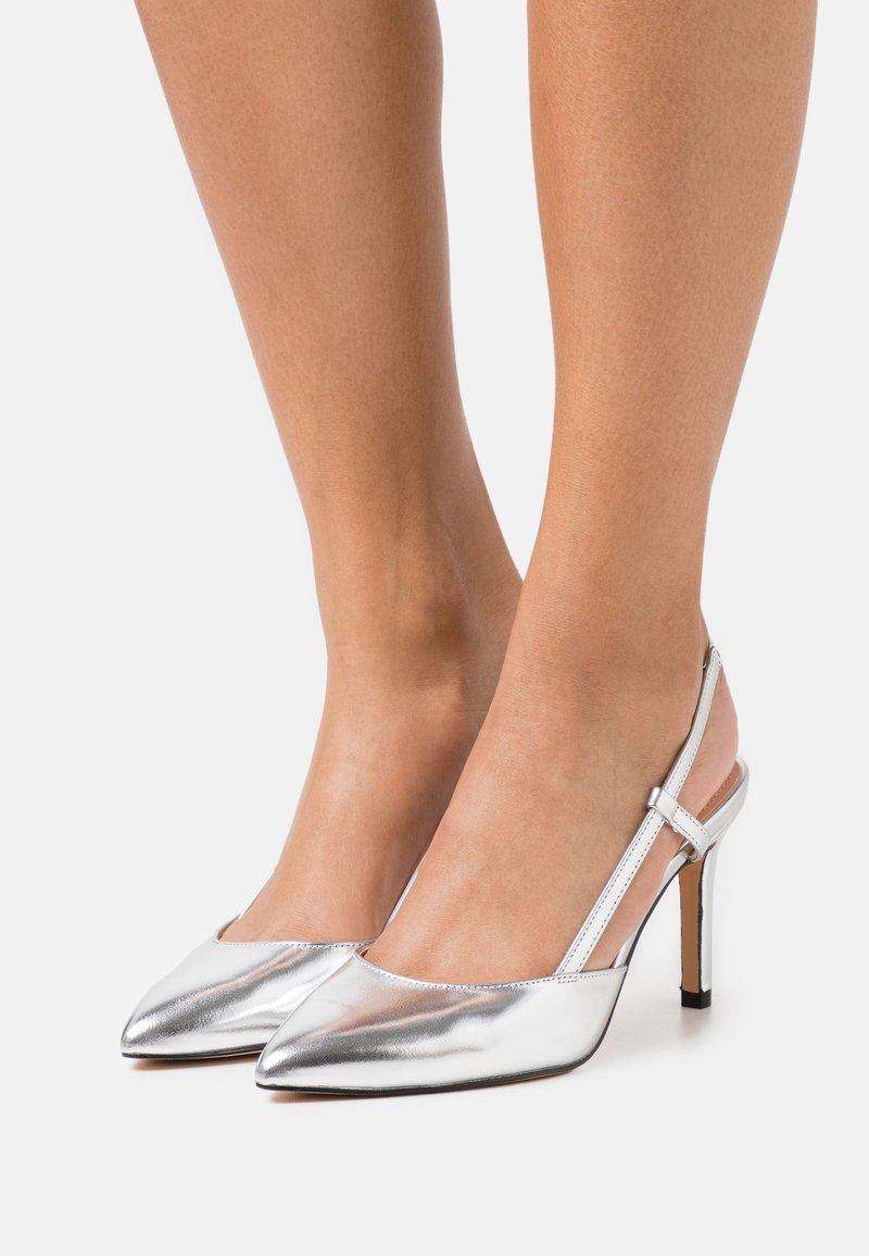 ONLY SHOES - ONLPEACHES SLING BACK - Høye hæler - silver