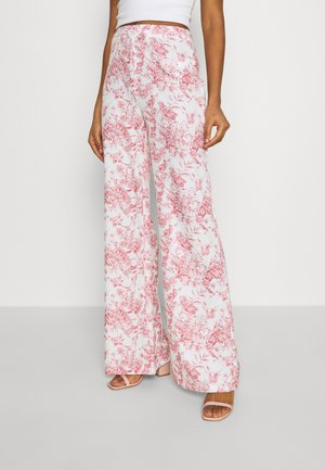 PRINTED WIDE LEG TROUSER - Kangashousut - white