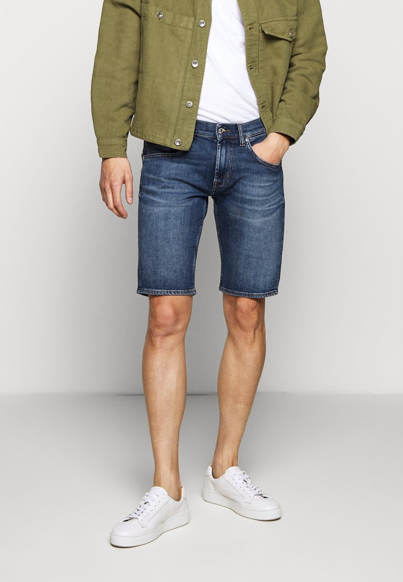 7 for all mankind - REGULAR HEMET - Denim shorts - mid blue