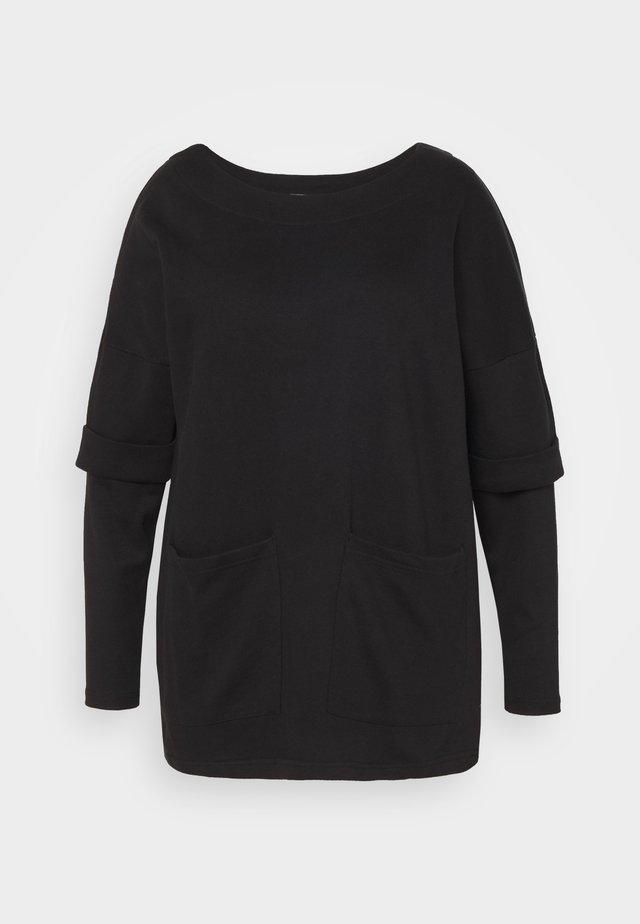 DRESS WITH DOUBLE LAYER SLEEVE - Denní šaty - black