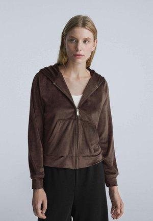 Sweat à capuche zippé - dark brown