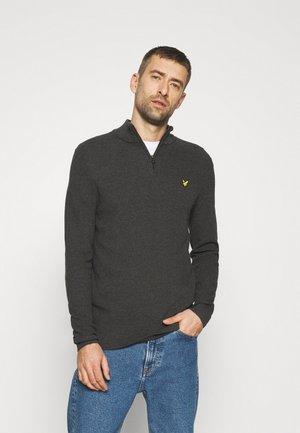 MOSS STITCH ZIP JUMPER - Maglione - charcoal marl