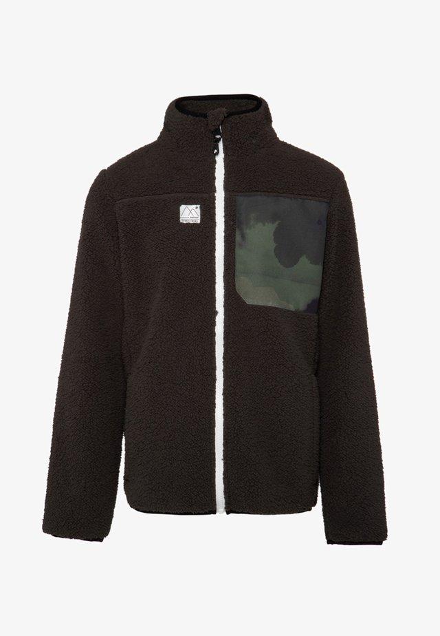 Fleece jacket - dark green/white