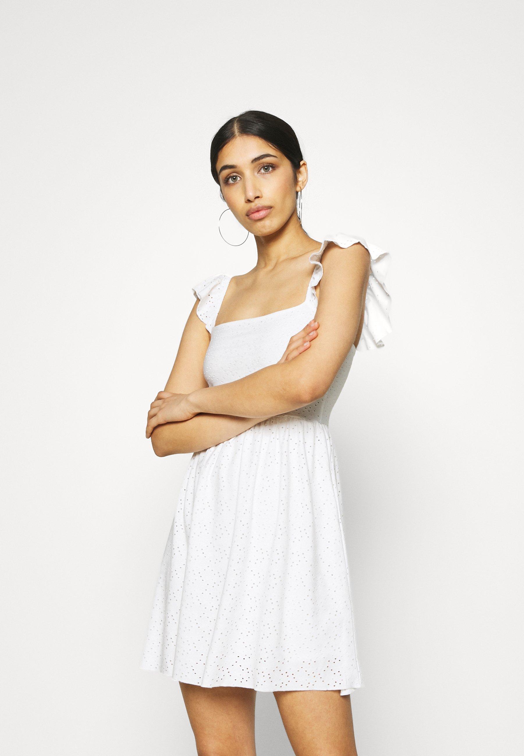 Women FRILL SLEEVE BRODERIE DRESS - Jersey dress