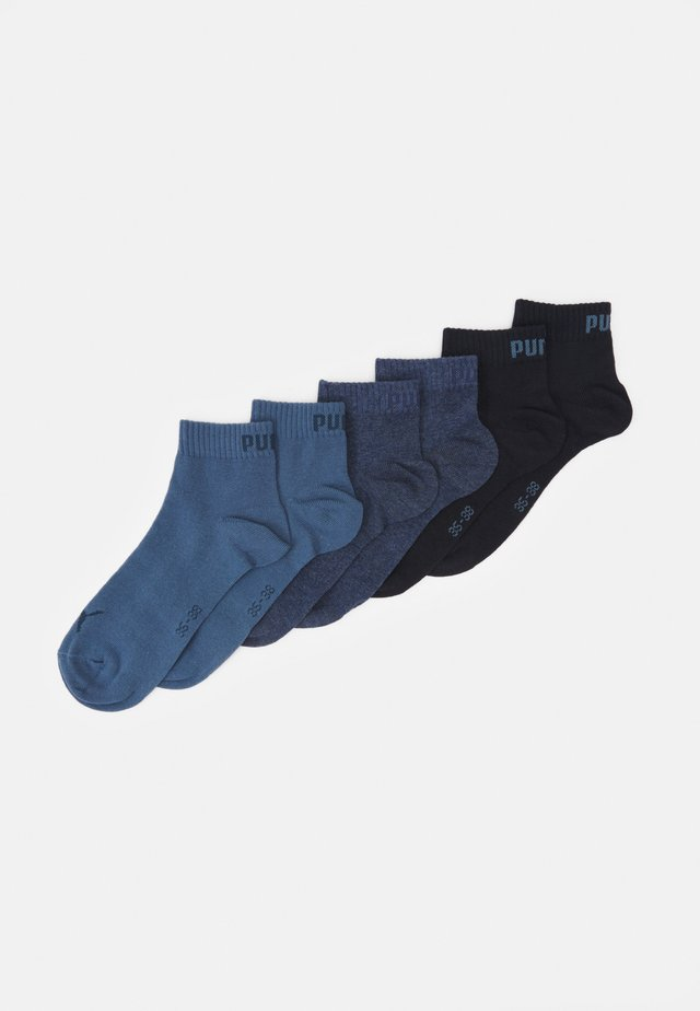 QUARTER PLAIN 6 PACK UNISEX - Sports socks - blue combo