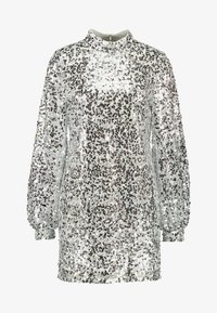 Nly by Nelly - HIGH NECK SEQUIN DRESS - Vapaa-ajan mekko - silver - 5