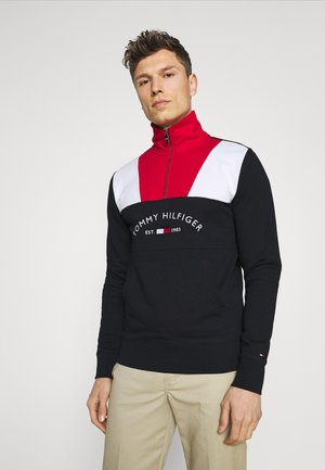 COLOR BLOCK MOCK NECK - Sweater - red/multi