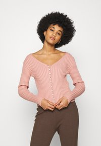 NA-KD - DETAILED CARDIGAN - Cardigan - dusty pink - 0