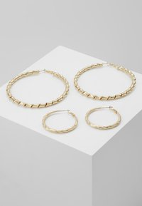 Topshop - ENGRAVED URBAN HOOP 2 PACK - Náušnice - gold-coloured - 0