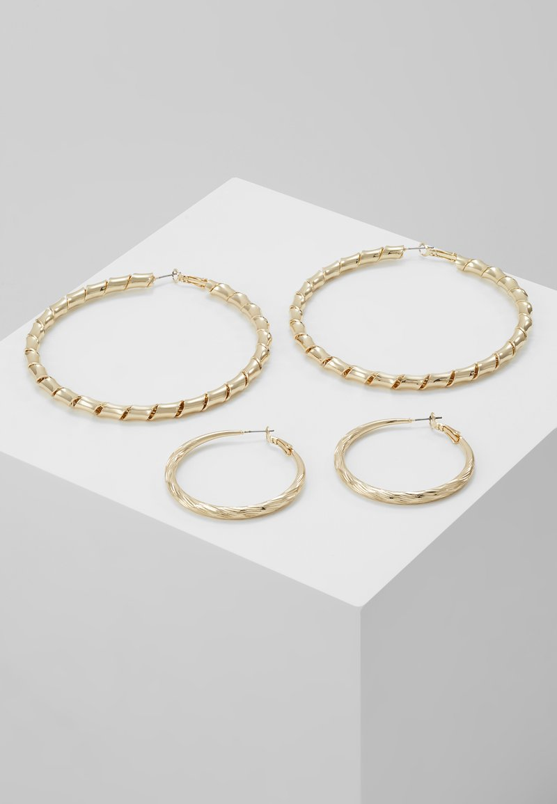 Topshop - ENGRAVED URBAN HOOP 2 PACK - Náušnice - gold-coloured