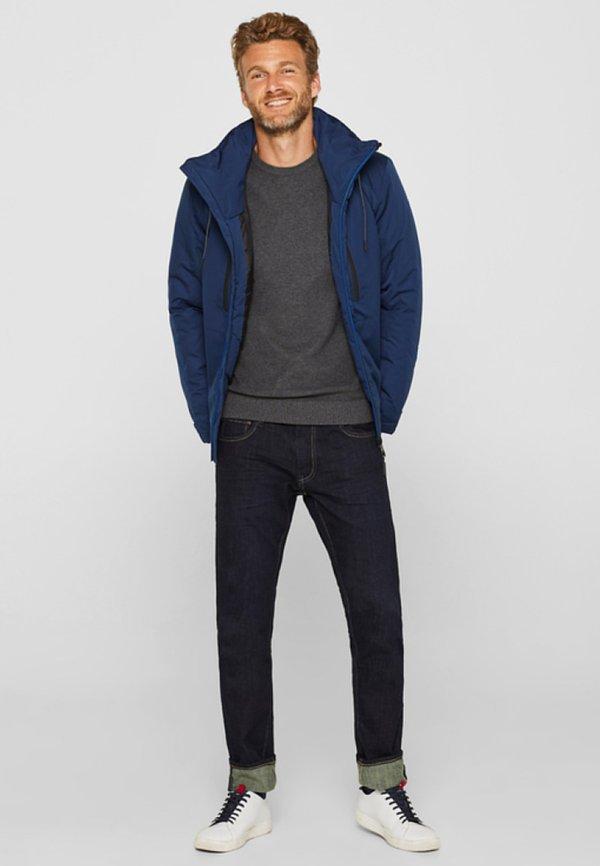 Esprit HONEYCOMB - Sweter - dark grey/ciemnoszary Odzież Męska DBJD
