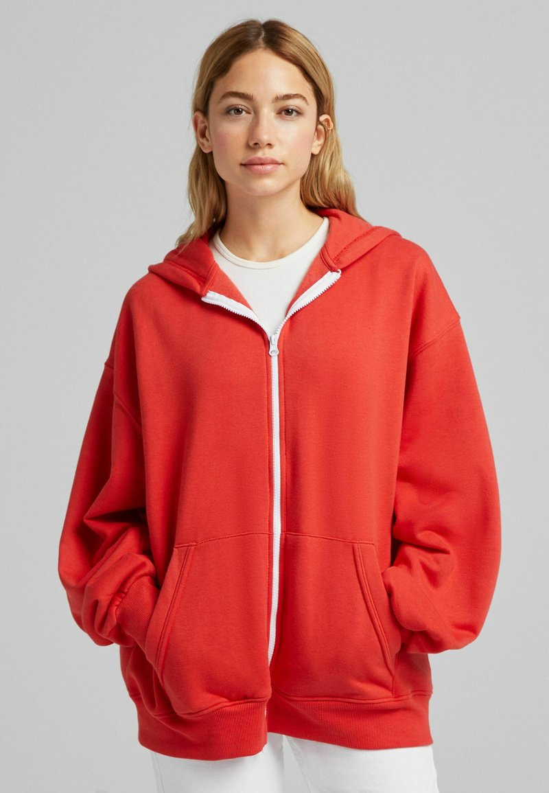 Bershka - OVERSIZE - Sweater met rits - red