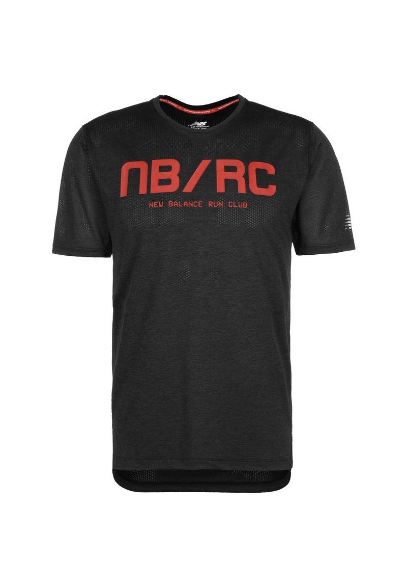 New Balance - NEW BALANCE PRINTED IMPACT LAUFSHIRT HERREN - T-shirt z nadrukiem - shiny black
