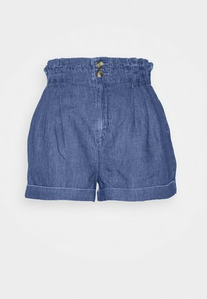 PLEATED EWAIST - Denim shorts - deep indigo