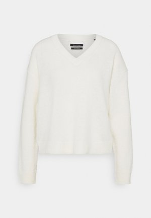 LONGSLEEVE V NECK CROPP - Strikkegenser - natural white