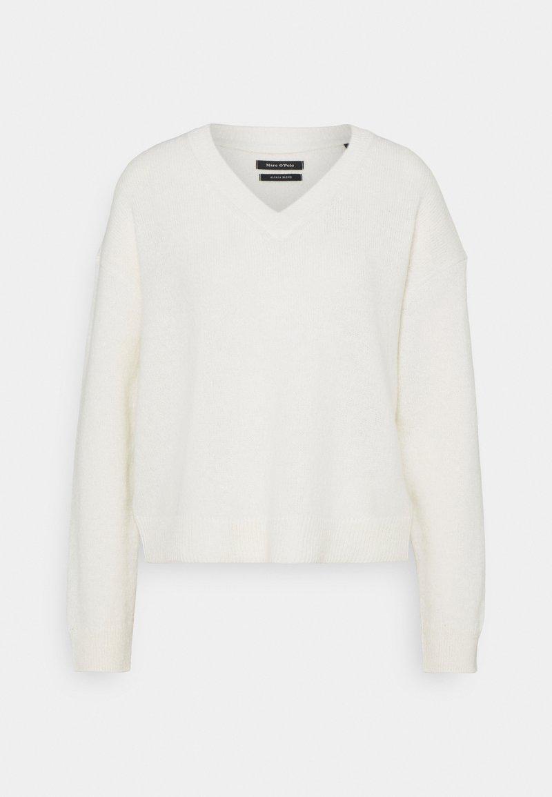 Marc O'Polo - LONGSLEEVE V NECK CROPP - Jumper - natural white