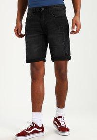 Redefined Rebel - OSLO DESTROY  - Denim shorts - sbit black - 0