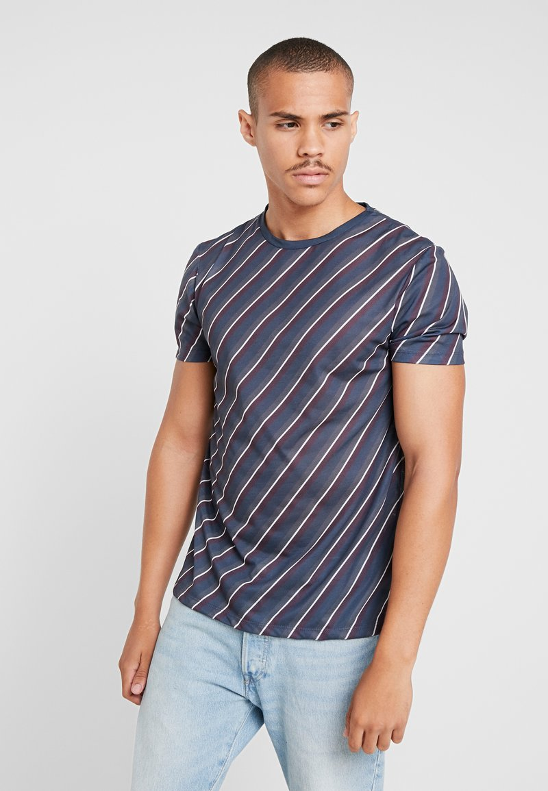 Burton Menswear London - DIAGONAL STRIPE - Print T-shirt - navy