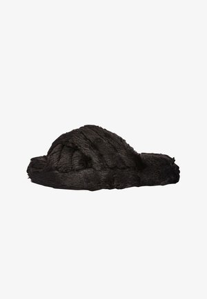 CROSS STRAP WITH RECYCLED FAUX FUR - Slippers - black