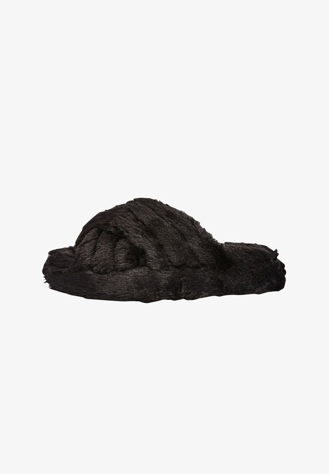 CROSS STRAP WITH RECYCLED FAUX FUR - Chaussons - black