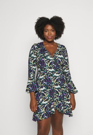 FLUTED SLEEVE WRAP DRESS - Jerseyjurk - multi-coloured
