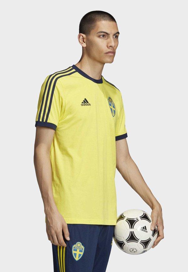 adidas Performance SVFF SWEDEN - T-shirt z nadrukiem - yellow/żÓłty Odzież Męska NGZI