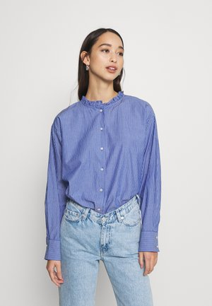 JDYBUBBLE LIFE FRILL LONG - Button-down blouse - estate blue/cloud dancer