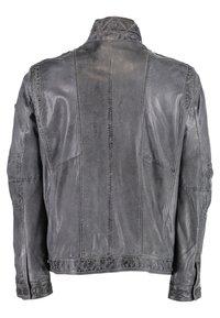 DNR Jackets - MIT STEHKRAGEN - Leather jacket - anthracite - 1