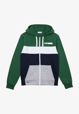 SH1506 - veste en sweat zippée - green/navy blue-silver chine-white