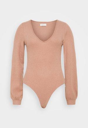COZY TIE FRONT BODYSUIT - Jumper - dark pink