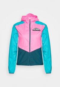 TRAIL - Waterproof jacket - pink glow/turquoise blue/dark teal green/black