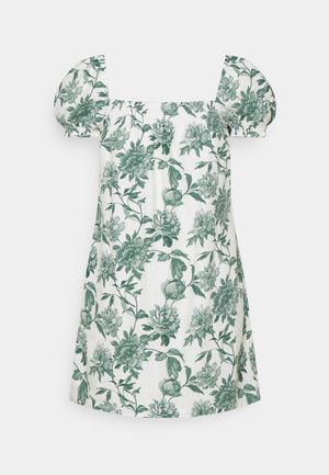 TRAPEZE SHORT DRESS - Day dress - white/green