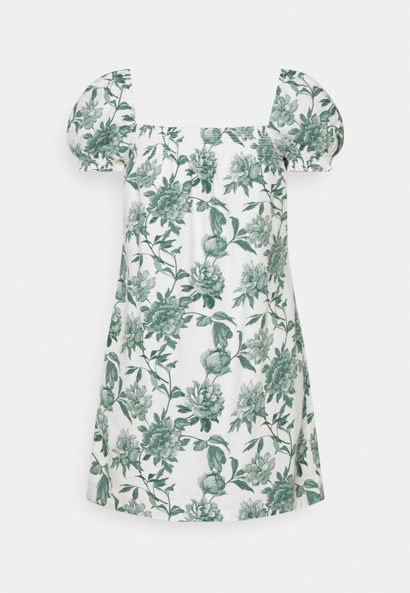 Abercrombie & Fitch - TRAPEZE SHORT DRESS - Day dress - white/green