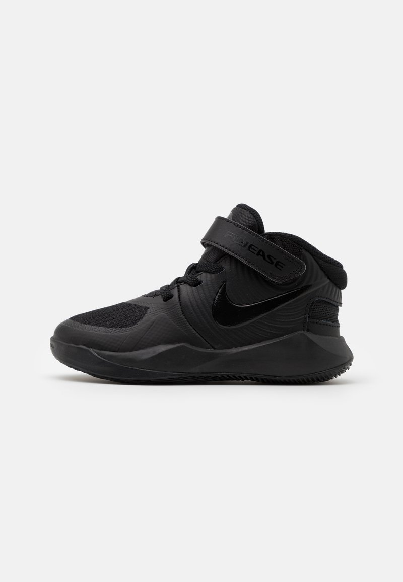 Nike Performance - TEAM HUSTLE D 9 FLYEASE UNISEX - Basketball shoes - black/dark smoke grey/volt