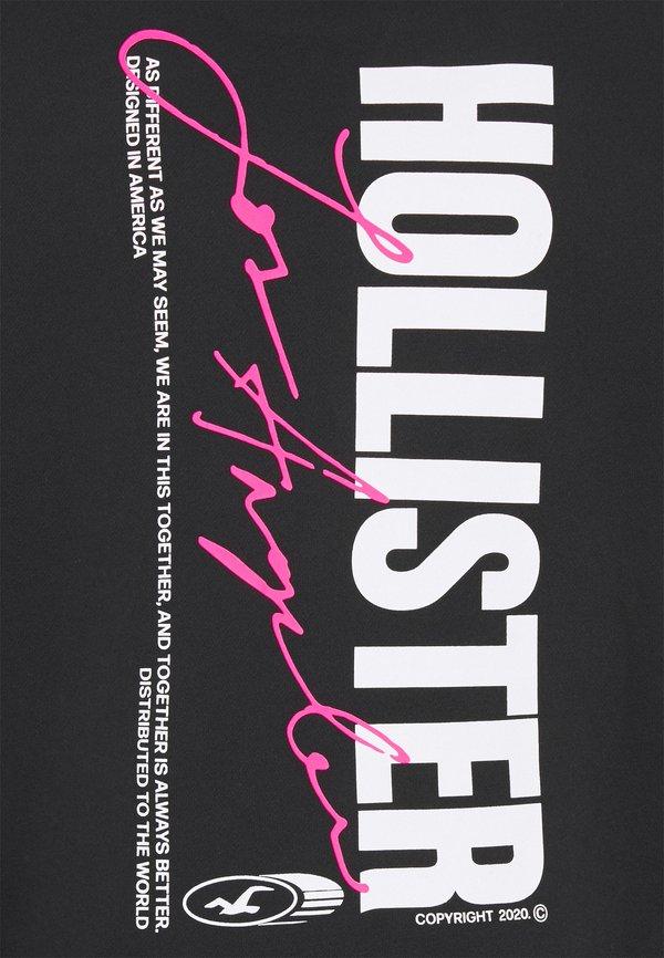 Hollister Co. GLOW IN THE DARK - Bluza - black with pink/czarny Odzież Męska ATCB