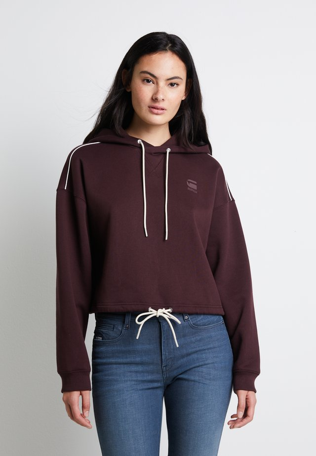 OVERSIZED CROPPED HOODED LONG SLEEVE - Hoodie - dk fig