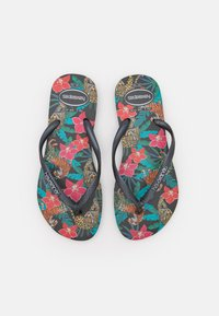 Havaianas - SLIM FIT TROPICAL - T-bar sandals - black/dark grey metallic - 0