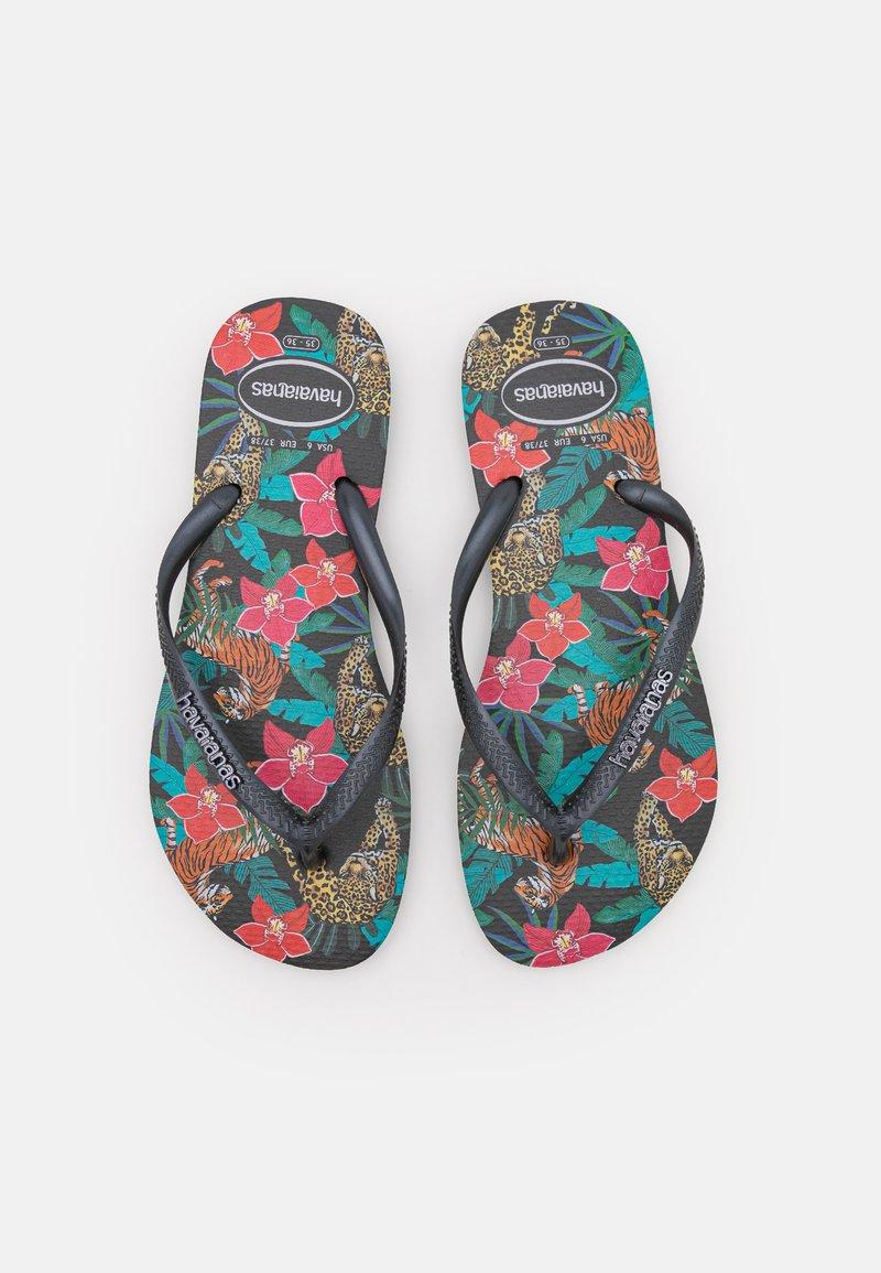 Havaianas - SLIM FIT TROPICAL - T-bar sandals - black/dark grey metallic