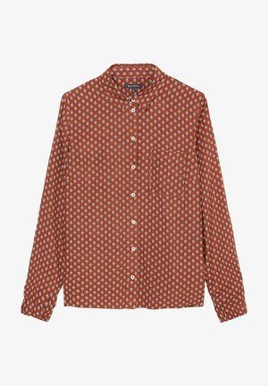 Button-down blouse - multi/burnt brick