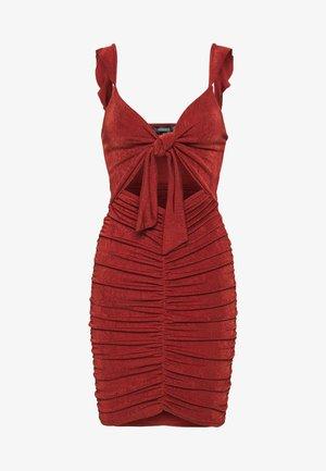 TEXTURE SLINKY RUCHED MINI DRESS - Day dress - rust