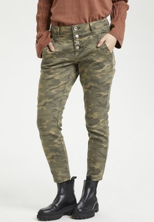 Slim fit jeans - sea green printed camouflage