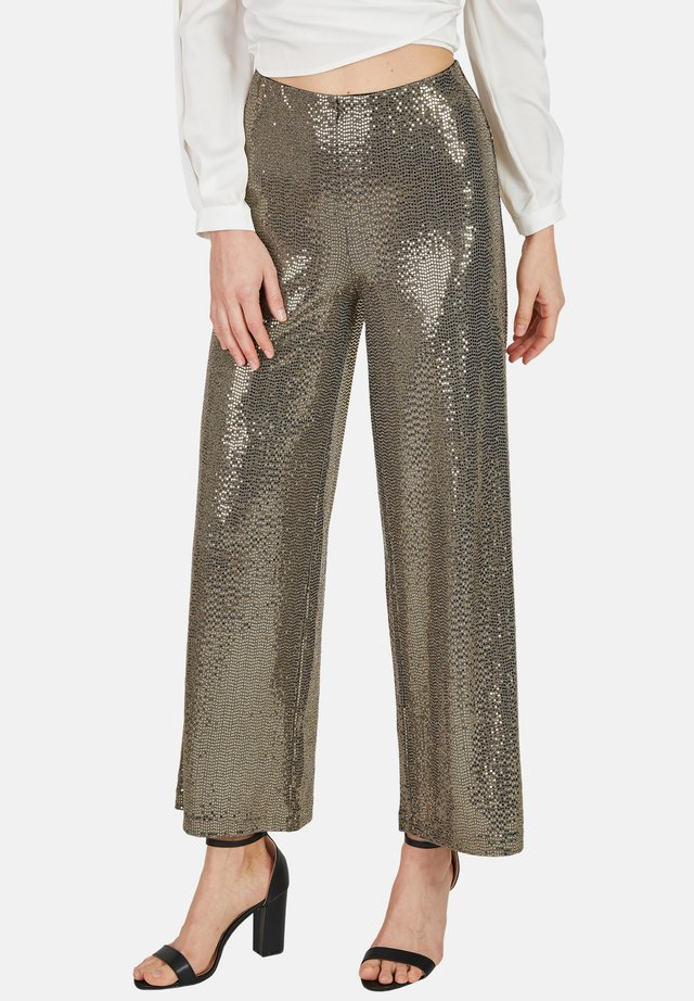 MIT GOLDENEN PAILLETTEN - Trousers - gold