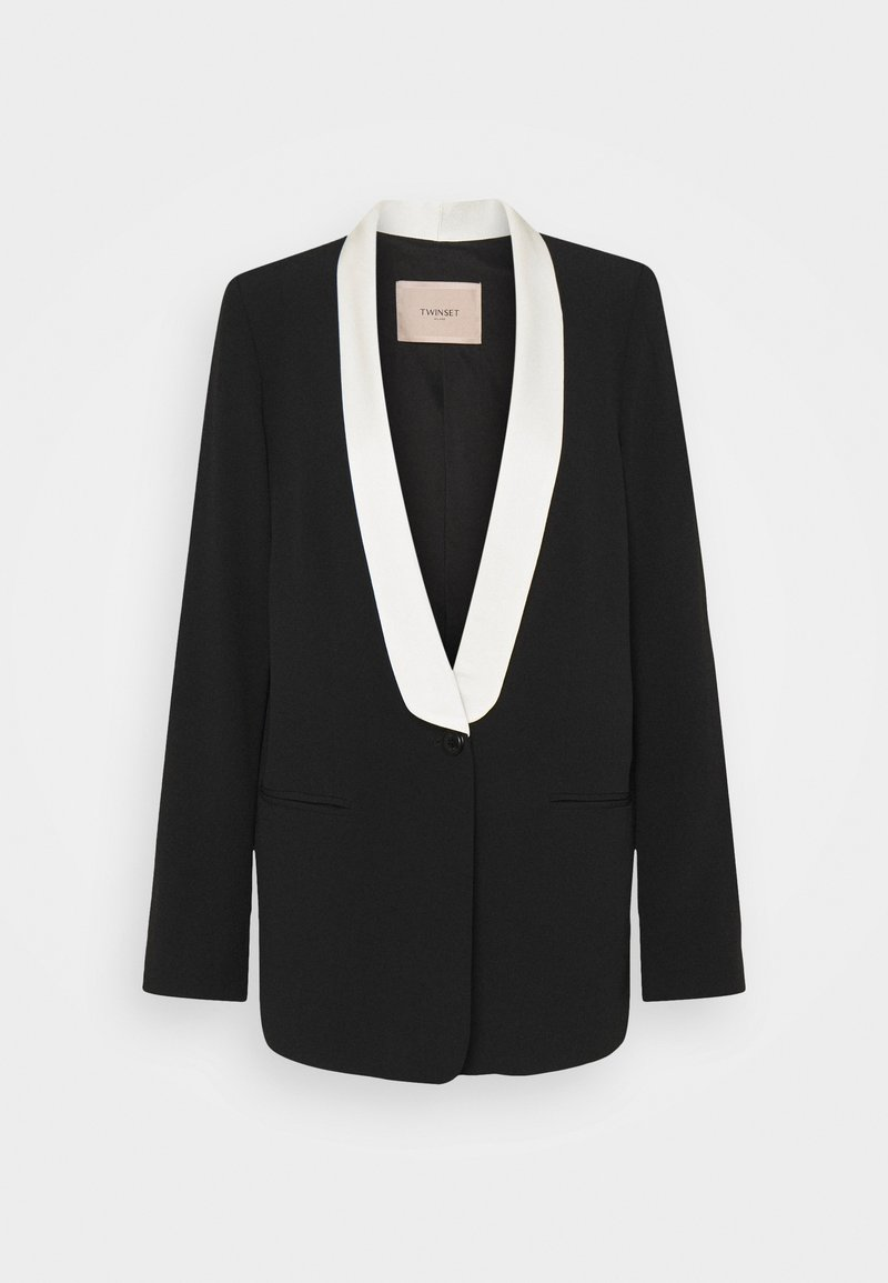 TWINSET - GIACCA IN CADY BICOLOR - Blazer - nero/neve