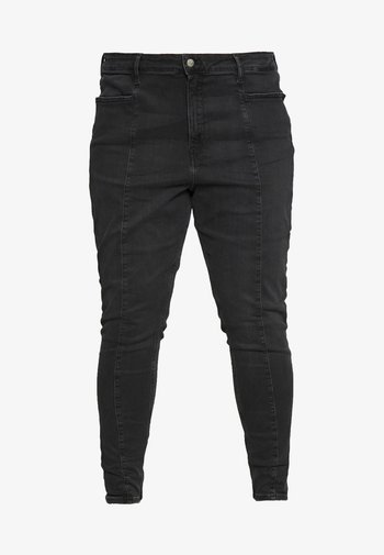 PLUS HIGH RISE SKINNY ANKLE - Jeans Skinny Fit - black