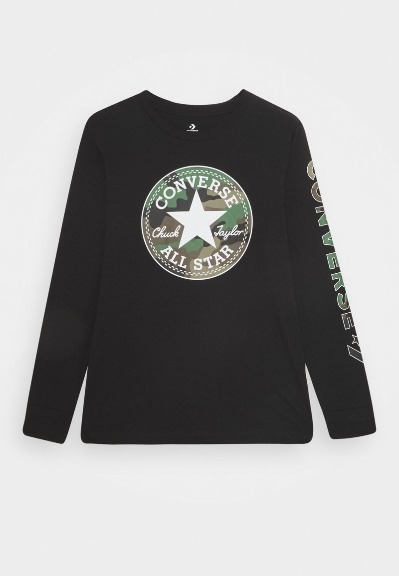 Converse - CAMO CHUCK PATCH TEE - Long sleeved top - black