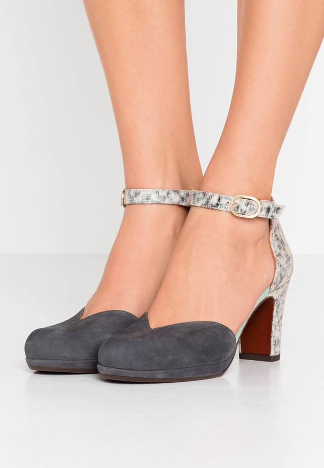 Scarpe con plateau - titanio/stone/acqua
